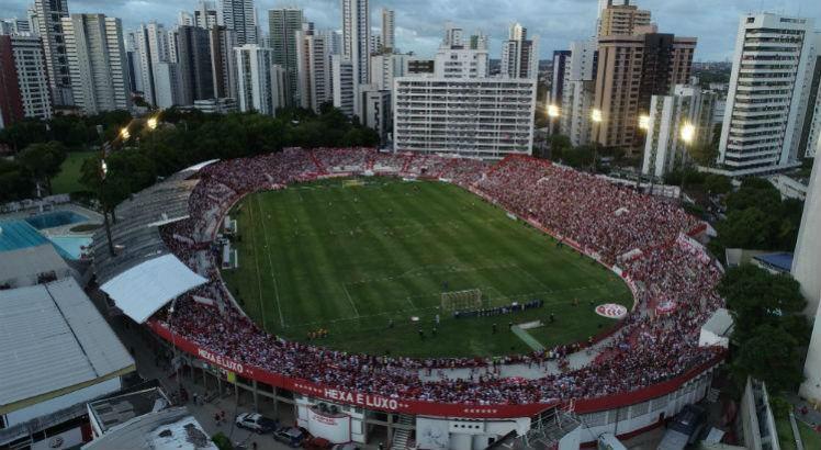 Amistoso internacional marcou a volta ao Estádio dos Aflitos, em dezembro de 2018. Foto: Arnaldo Carvalho/JC Imagem